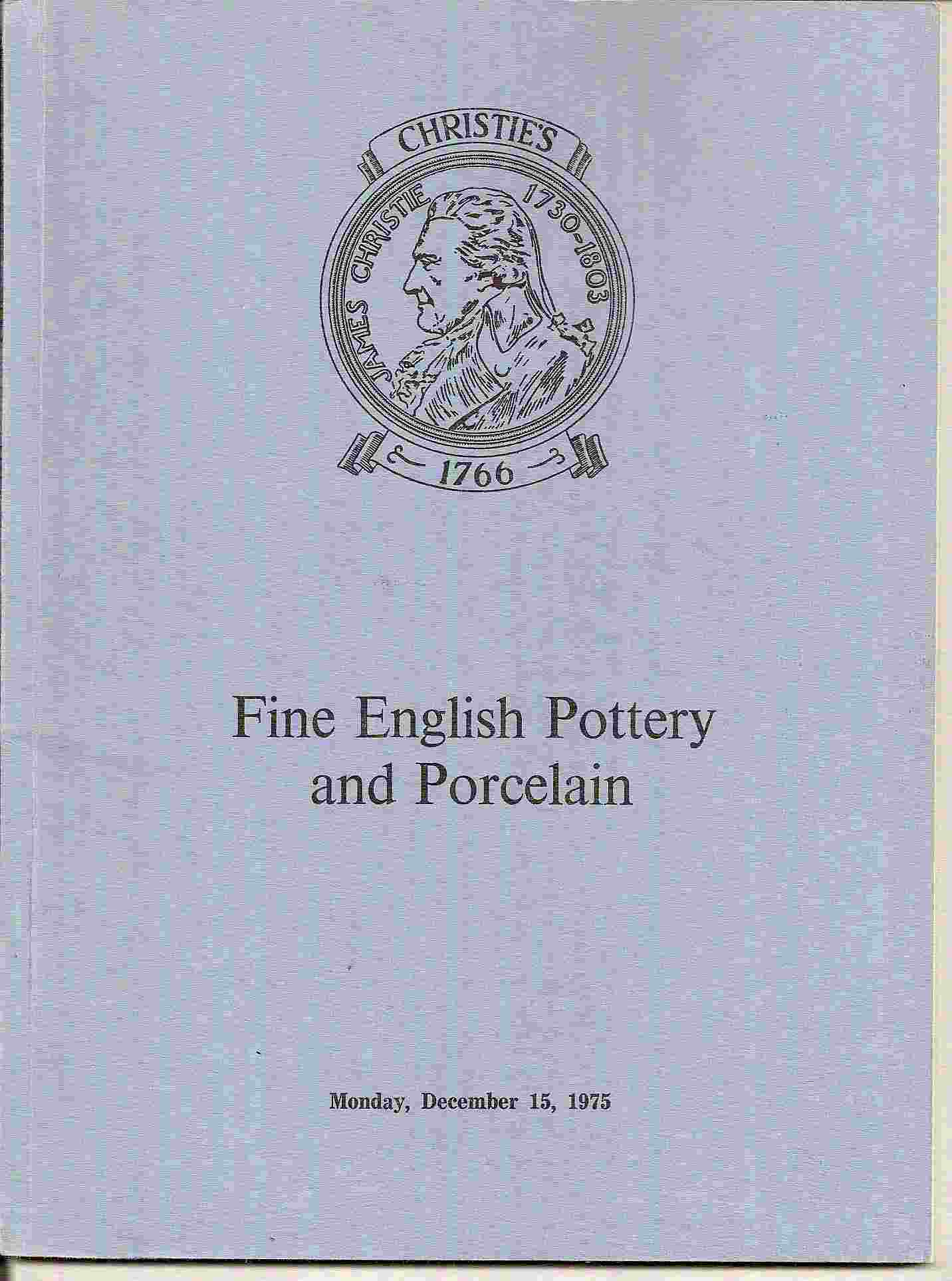 Image for Catalogue of FINE ENGLISH POTTERY & PORCELAIN