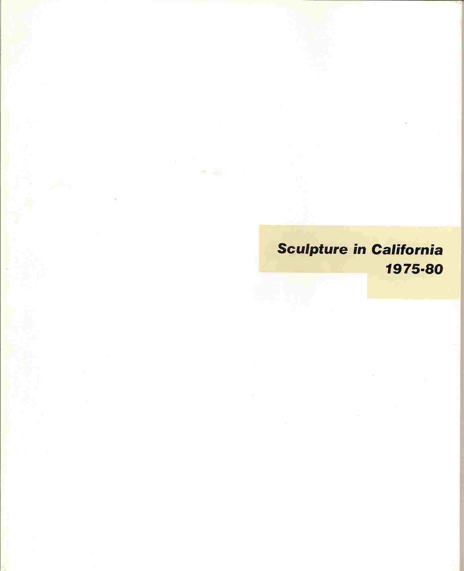 Image for SCULPTURE IN CALIFORNIA 1975-1980