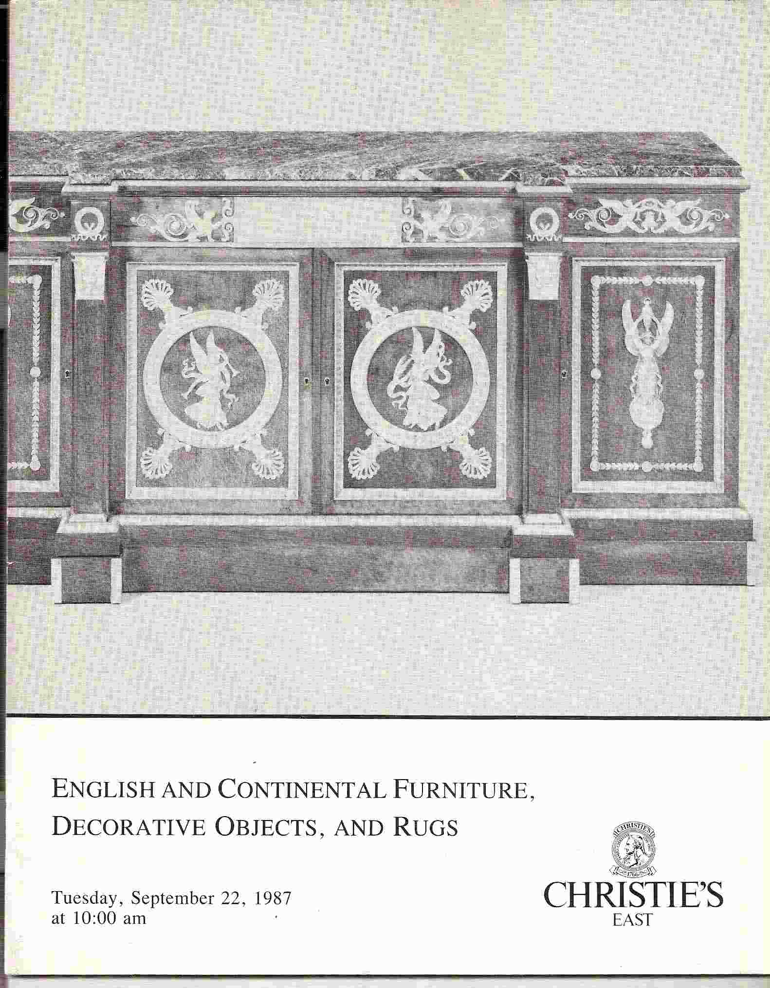Image for Tuesday, September 22, 1987; ENGLISH & CONTINENTAL FURNITURE, DECORATIVE OBJECTS, & RUGS