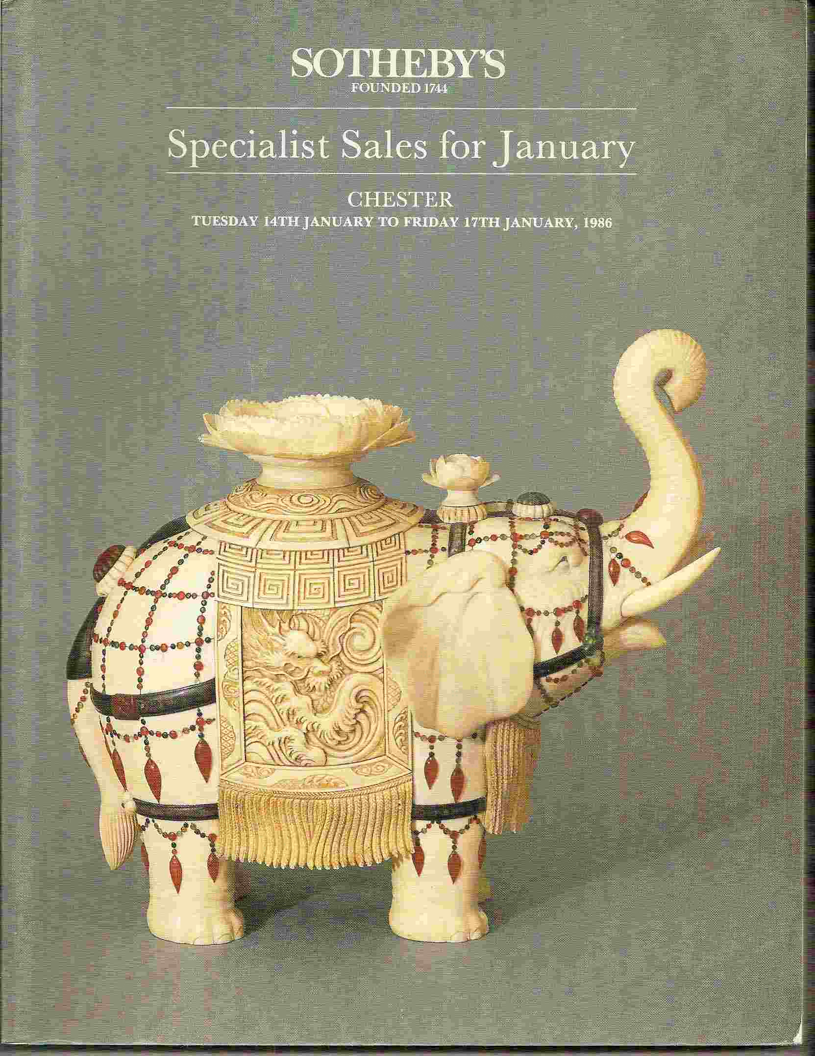 Image for SPECIALIST SALES FOR JANUARY Tuesday 14th January to Friday 17th January, 1986