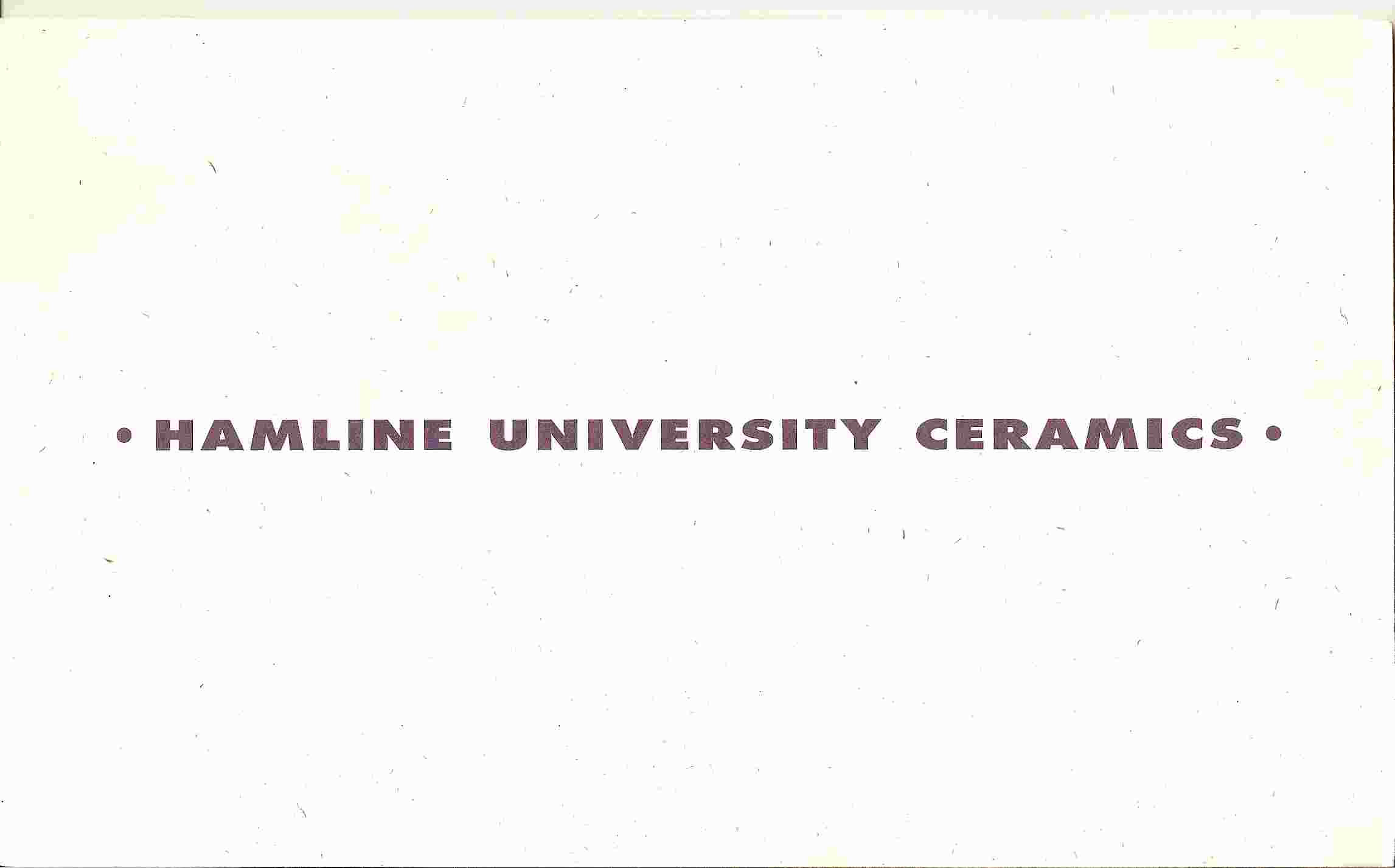 Image for HAMLINE UNIVERSITY CERAMICS