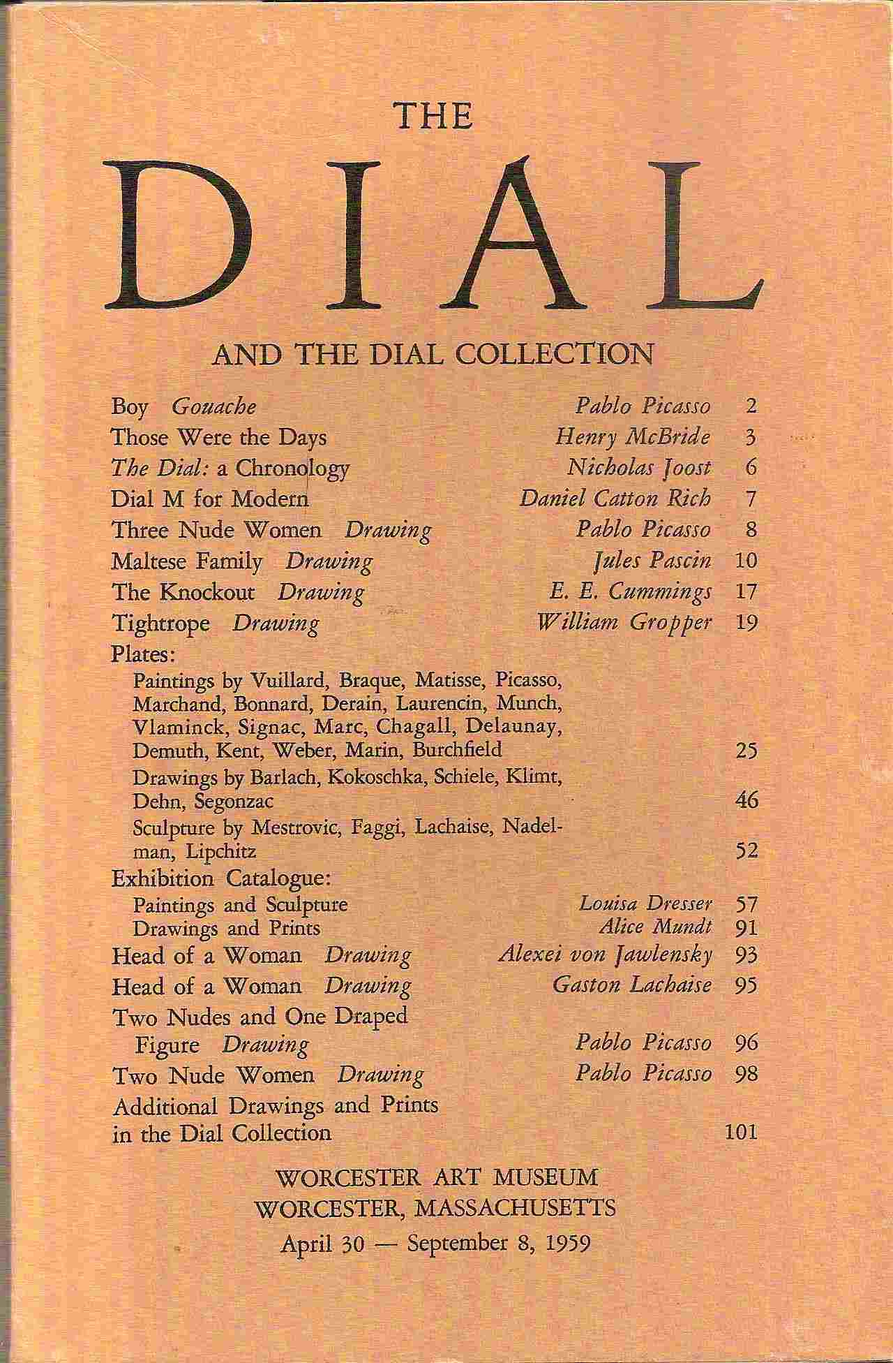 Image for April 30 - September 8, 1959; THE DIAL AND THE DIAL COLLECTION