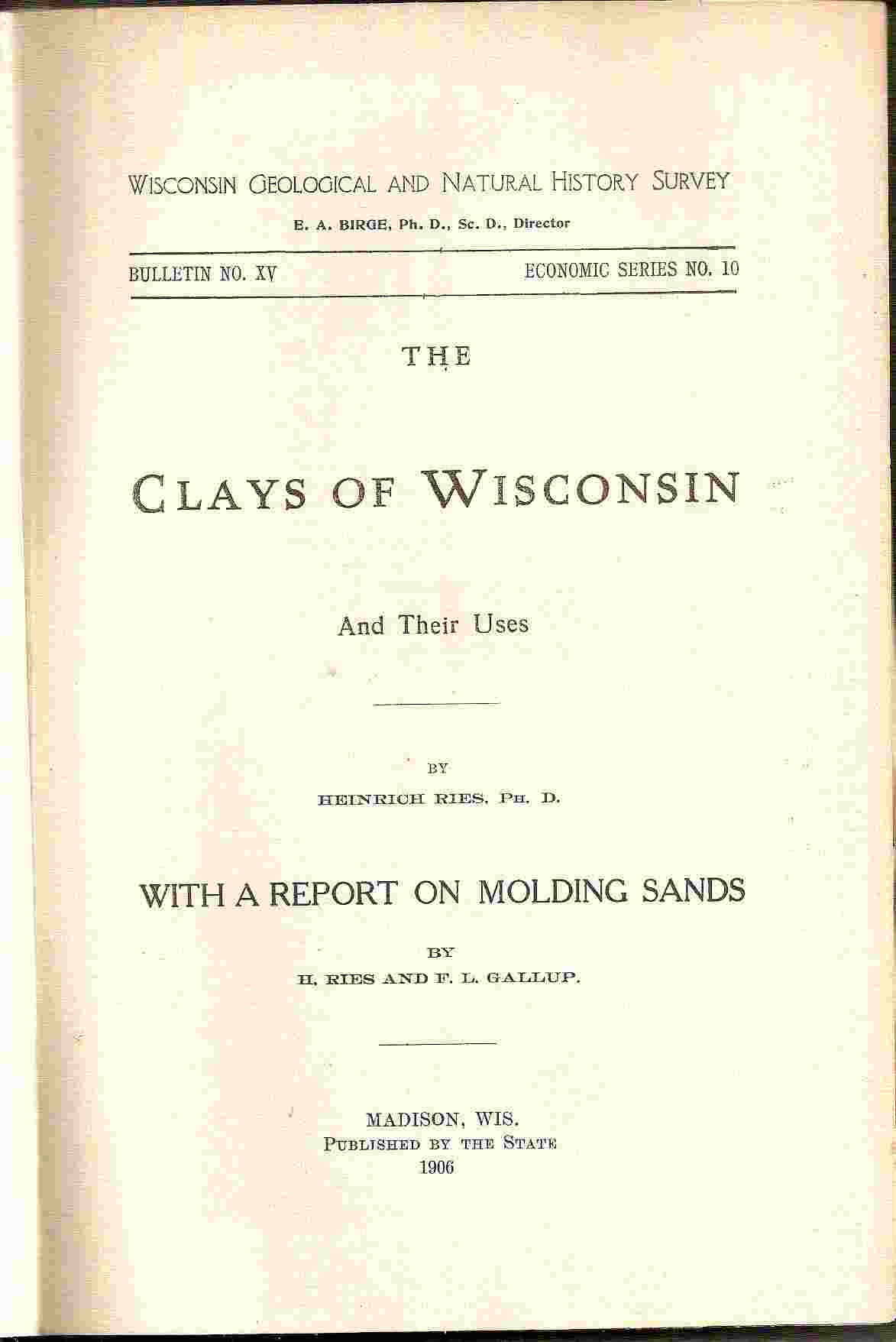 Image for THE CLAYS OF WISCONSIN (BULLETIN NO. XV, NO 10)  And Their Uses (With a Report on MOLDING SANDS) by H. Ries & F. L. Gallup
