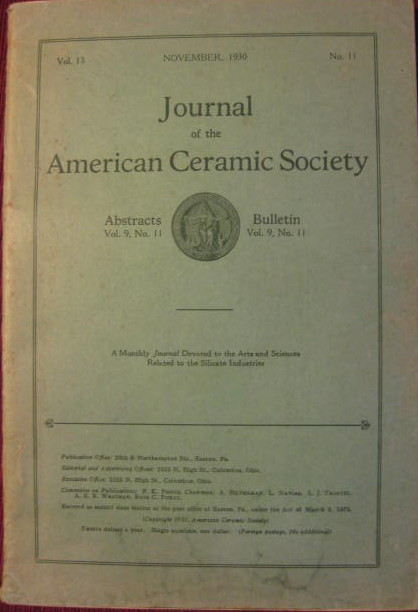 Image for Ceramic Abstracts and the Bulletin; JOURNAL OF THE AMERICAN CERAMIC SOCIETY: