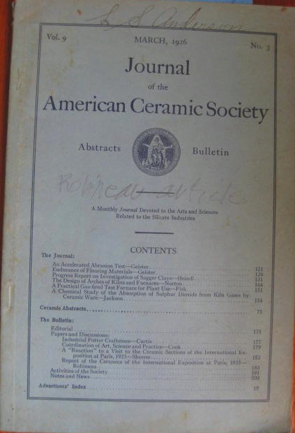Image for Ceramic Abstracts and the Bulletin (With Article by Adelaide Alsop Robineau) ; JOURNAL OF THE AMERICAN CERAMIC SOCIETY: