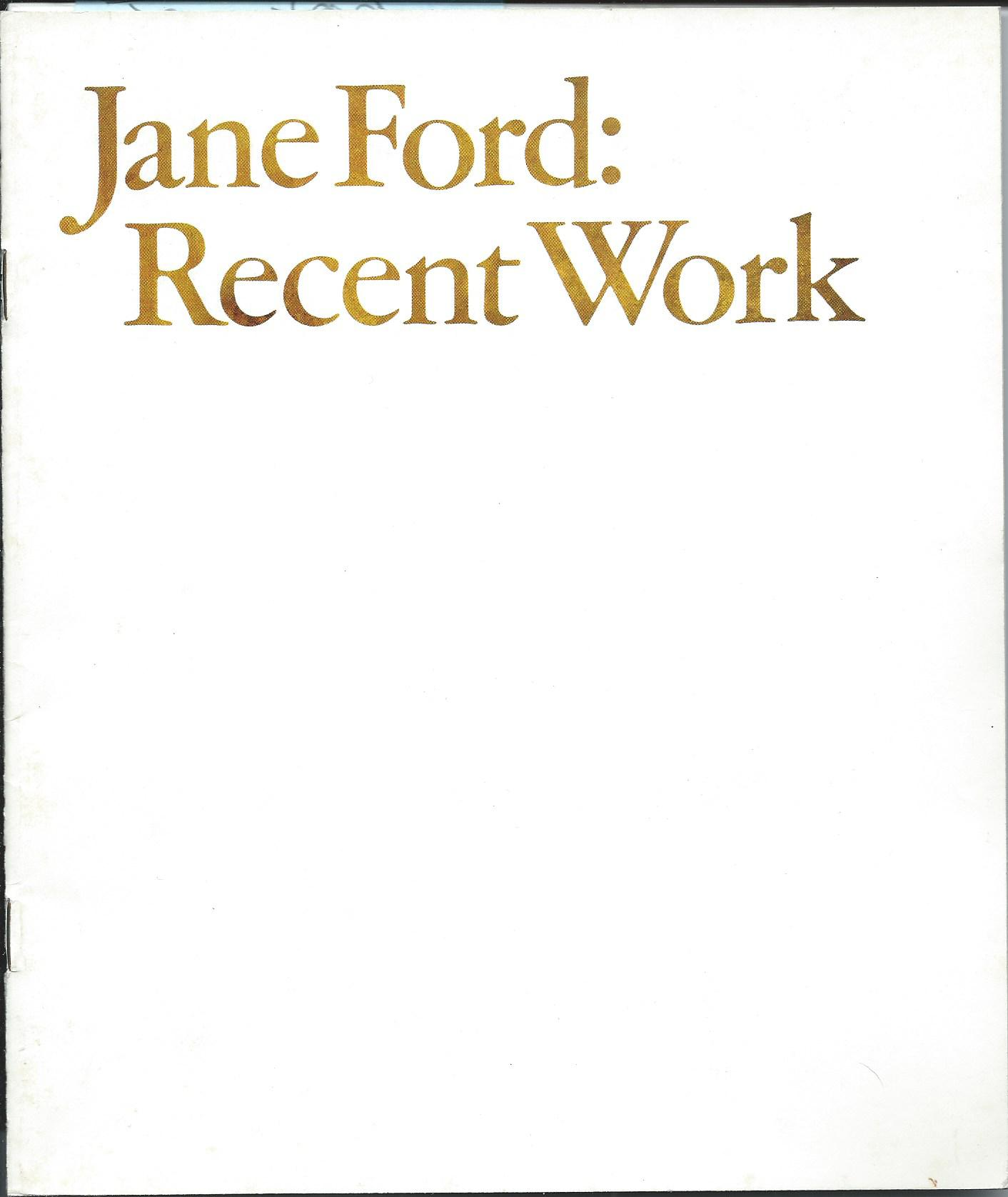 Image for Recent Work; JANE FORD: