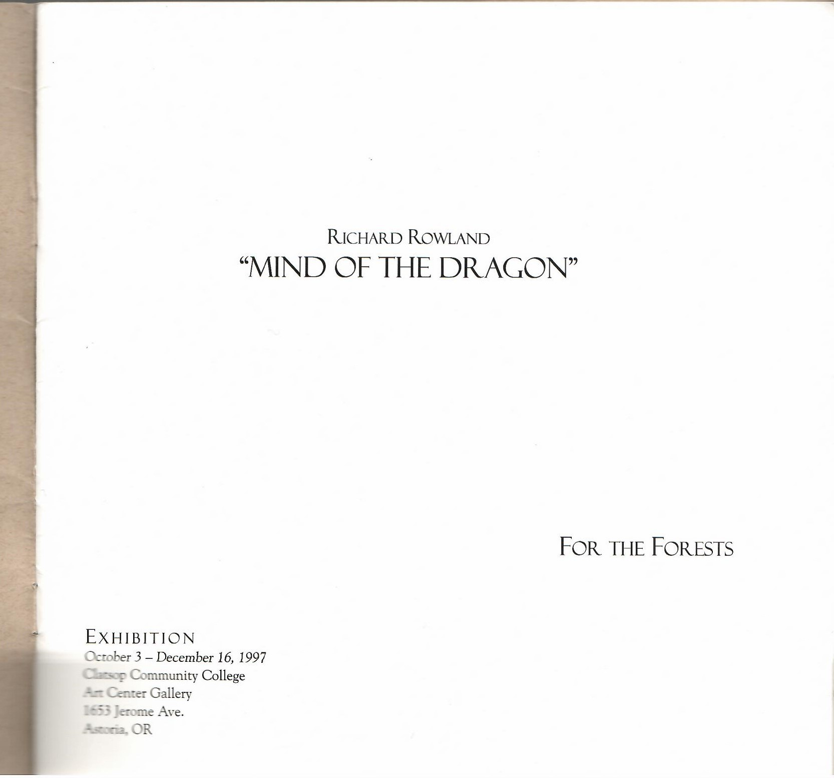 "Image for Exhibition Catalog October 3 - December 16, 1997; ""MIND OF THE DRAGON"""