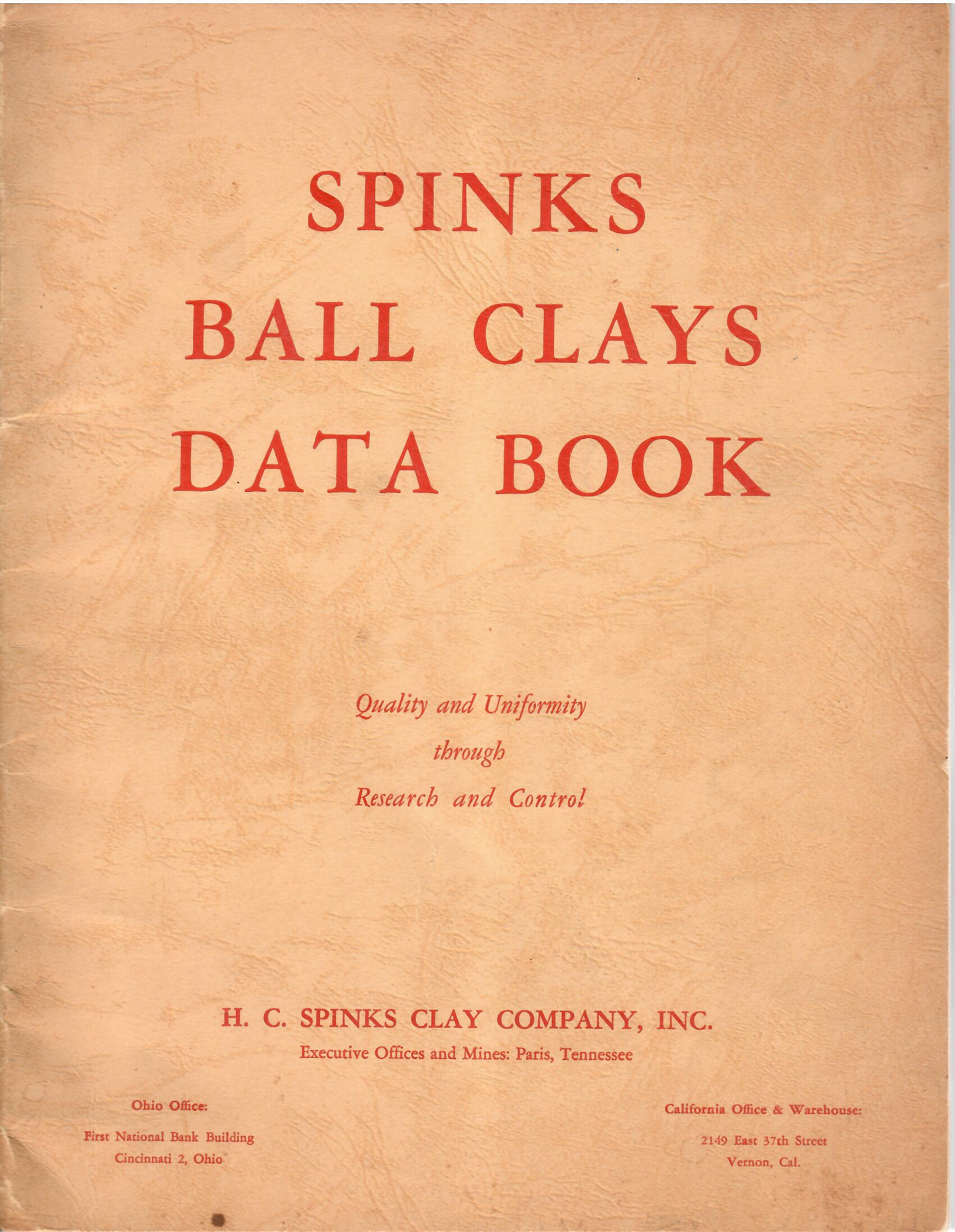 Image for SPINKS BALL CLAYS DATA BOOK