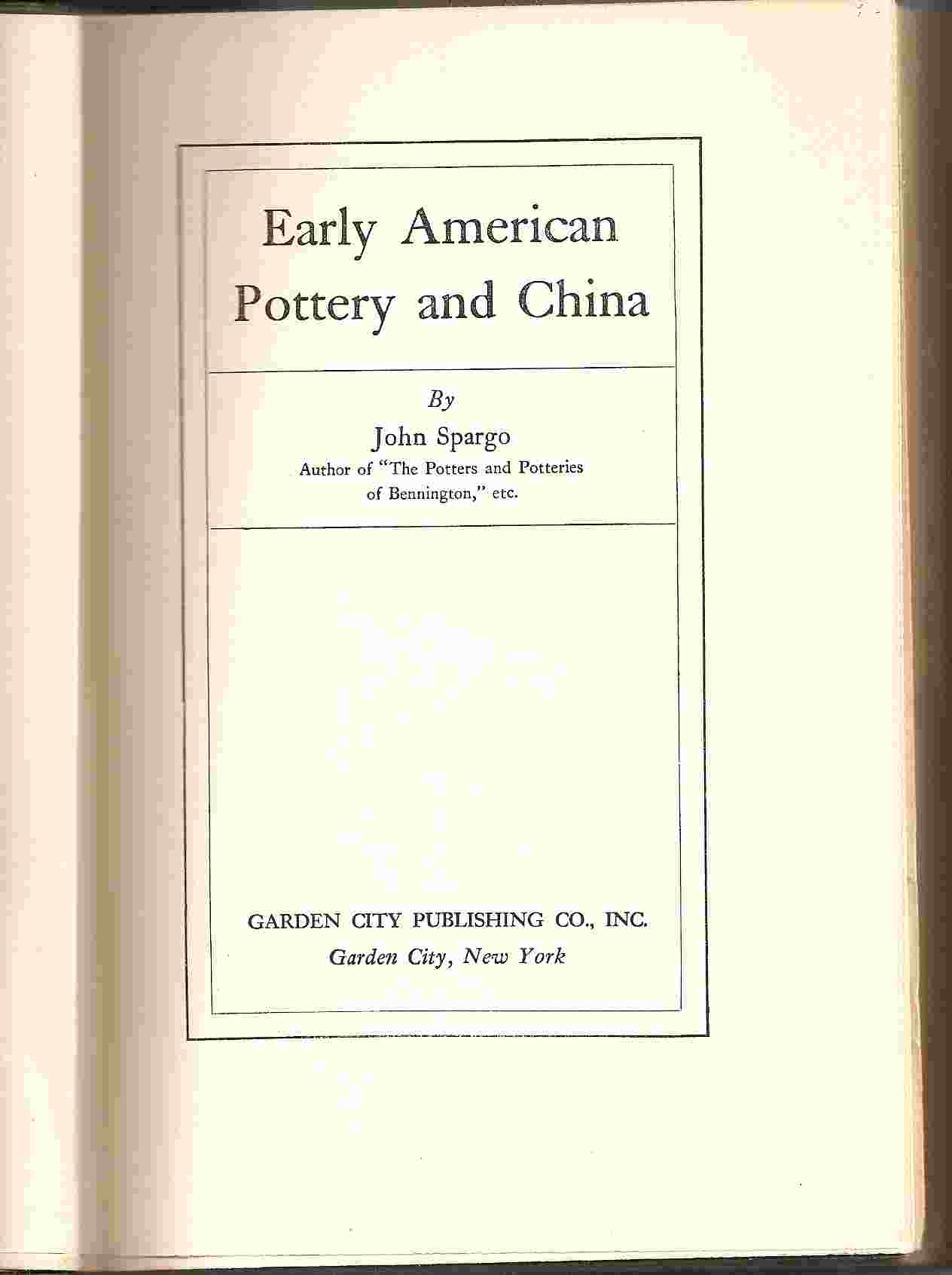 Image for EARLY AMERICAN POTTERY & CHINA